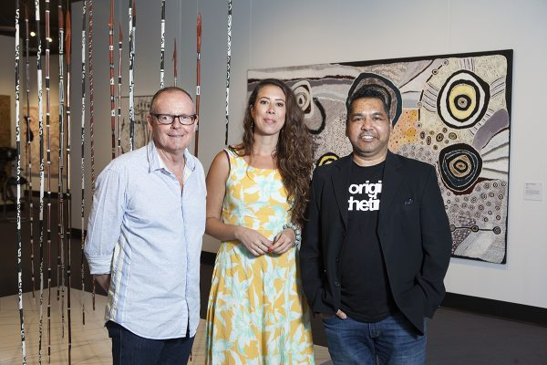 2016 Telstra National Aboriginal and Torres Strait Islander Art Awards judges (L-R) Don Whyte, Kimberly Moulton and Vernon Ah Kee.