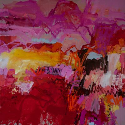 Jo Davenport.Pink Fields, 1530 x 1530, oil on Belgian linen