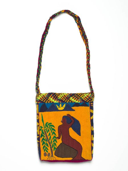 WAI, Sospen Papua New Guinea b.unknown Mermaid c.2012 Bag: cotton and synthetic thread on rice bag with cardboard insert and cotton lining 62.5 x 24 x 6cm Acc. 2014.010