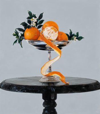 Michael Zavros, Mock Orange, 2014, oil on board, 40 cm x 35 cm, private collection.