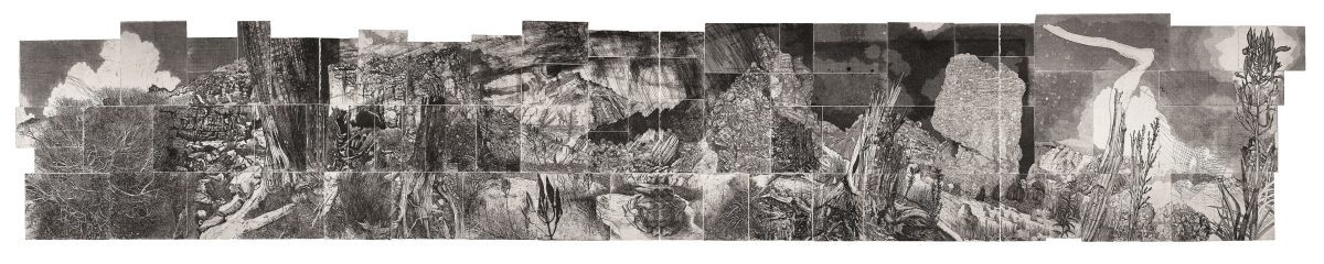 1. Elsewhere World, 2016, multi-plate etching, edition 3, 11th state, 80 x 400 cm