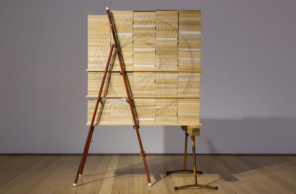 kylie stillman the opposite of wild art guide   timber saw horse ladder 182 x 144 x 80 cm installation view courtesy of the artist and utopia art sydney photograph david marks photographer