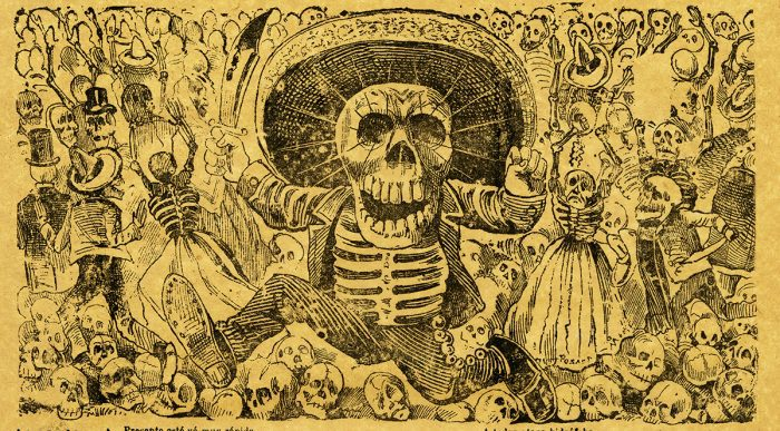 Jose Guadalupe Posada, Calavera del Cine, print on woven paper. Private collection - Copy