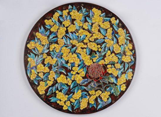 Murat Urlali, wattles and waratah 2017, oil, acrylic, enamel, rhinestones, and gold leaf on wood panel