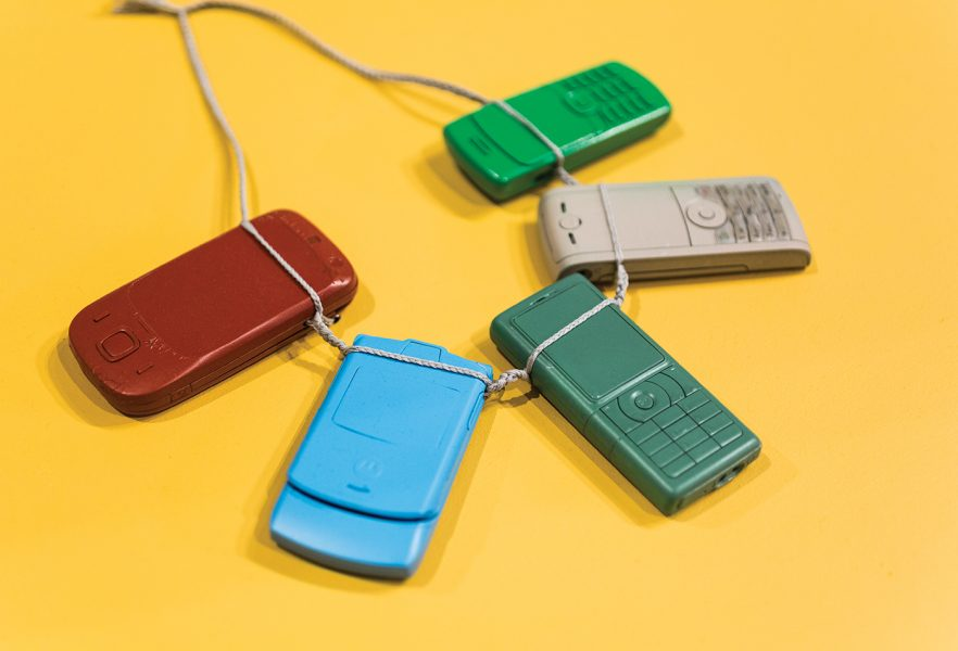 A necklace made from old mobile phones